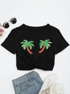 Draped Cropped Palm Tree Patched Top - Black M