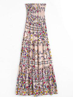 Floral Ruffles Smocked Tube Dress - Floral L