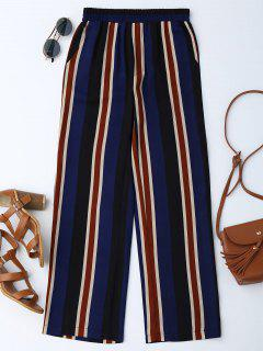 High Waisted Stripes Wide Leg Pants - Blue M