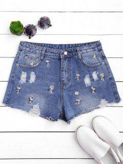 Puppy Embroidered Destroyed Denim Shorts - Denim Blue M
