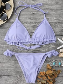 Frilled Padded Plunge String Bikini Set - Purple S