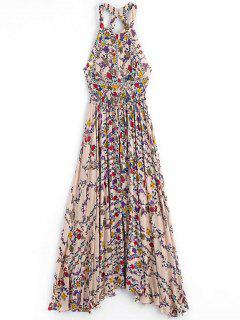 Floral Slit Cut Out Maxi Dress - Floral S