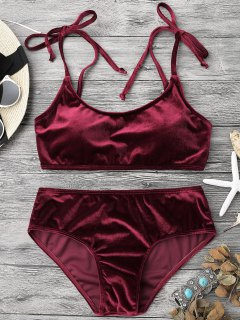 Velvet Padded Bralette Bikini Set - Burgundy M