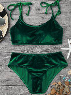 Velvet Padded Bralette Bikini Set - Green S