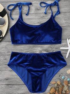 Traje De Bikini De Terciopelo Sin Aros Con Relleno - Azul Zafiro S
