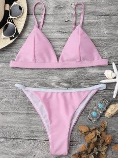 Top Et Bas De Bikini Confortable Rembourré à Bretelles - Rose PÂle M