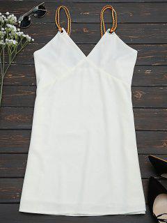 Braided Straps Mini Slip Dress - White S