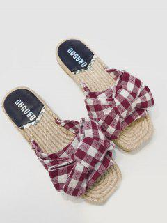 Gingham Bow Espadrille Slides - Red 39