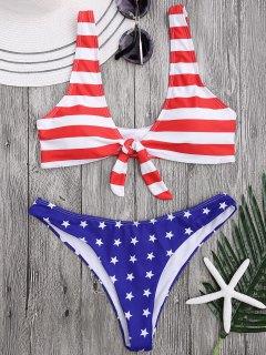 Patriotischer Badeanzug Mit Schaufelausschnitt Und Krawatte Vorne - Streifen  Xl
