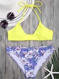 Halfter BH Mit Floral Swim Bottoms - Gelb L