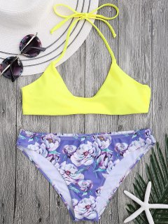 Halter Bra With Floral Swim Bottoms - Yellow M