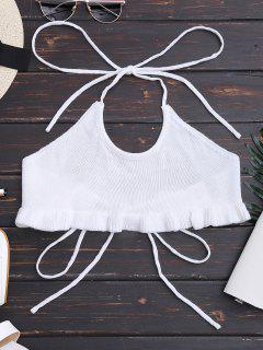 Knitting Ruffles Cropped Tank Top - White M