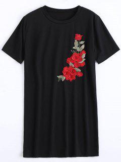 Vestido De Desplazamiento Con Remiendo Floral De Cuello Redondo - Negro Xl