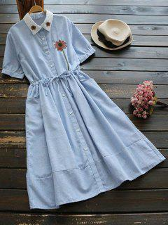 Floral Patched Button Up Striped Dress - Light Blue