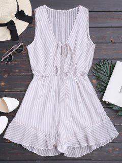 Stripes Ruffles Bowknot Romper - Stripe 2xl