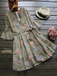 Blumendruck Flare Sleeve Surplice Kleid - Blumen