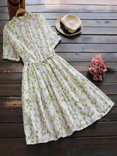 Floral Print Drawstring Flare Dress - Off-white