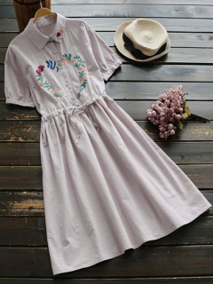Floral Embroidered Drawstring Flare Dress - Light Pink