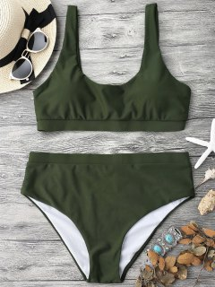 Midi Bralette Schaufel Bikini Set - Grün L