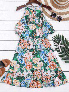 High Neck Ruffles Floral A-Line Dress - Floral L