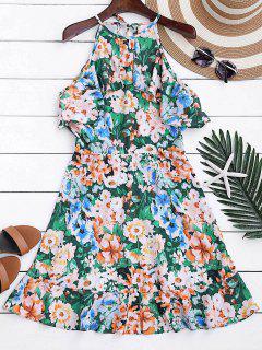Vestido Foral En A Línea Con Volantes Con Cuello Alto - Floral S