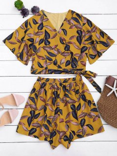 Leaves Print Cropped Wrap Top And High Waisted Lined Shorts - Yellow L