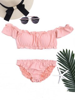 Ruffled Off Shoulder Ruched Bathing Suit - Pink L