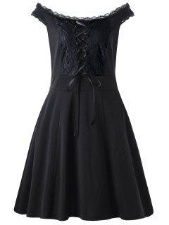 Lace Up Plus Size Mini Dress - Black 5xl