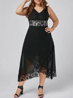 Plus Size Lace Trim Tulip Maxi Dress - Black 4xl