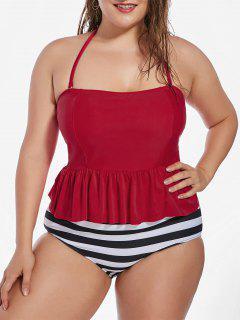 Plus Size Stripe Padded Flounce Halter Bandeau Swimsuit - Black 3xl
