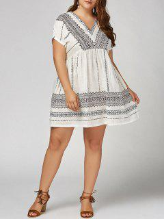 Plus  Size  V  Neck Bohemian Smock Dress - White 4xl