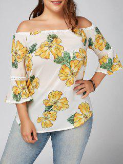 Plus Size Floral Chiffon Off The Shoulder Hawaiian Blouse - White 5xl