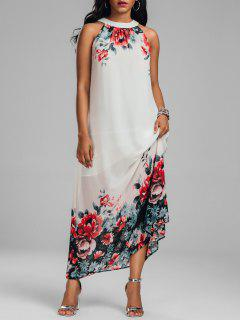 Sleeveless Maxi Chiffon Floral Dress - White Xl
