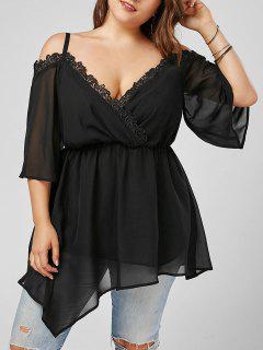 Cold Shoulder Chiffon Plus Size Tunic Top - Black 5xl