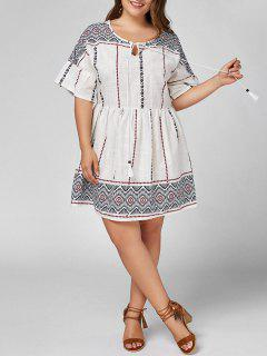 Plus Size Self Tie High Waist Smock Dress - White 4xl