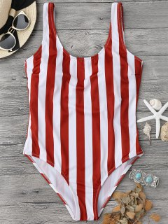 Striped Shaping Padded One Piece Swimsuit - Red With White L