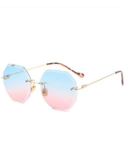 latest Ombre Geometric Rimless Sunglasses - BLUE AND PINK  Mobile