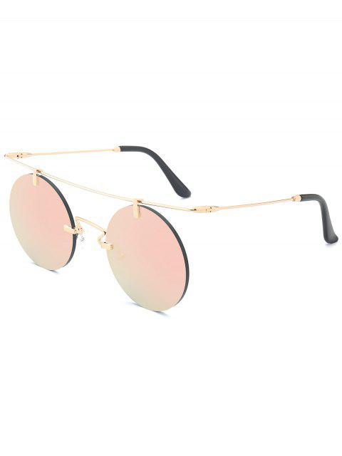 trendy Long Straight Crossbar Round Mirrored Rimless Sunglasses - PINK  Mobile