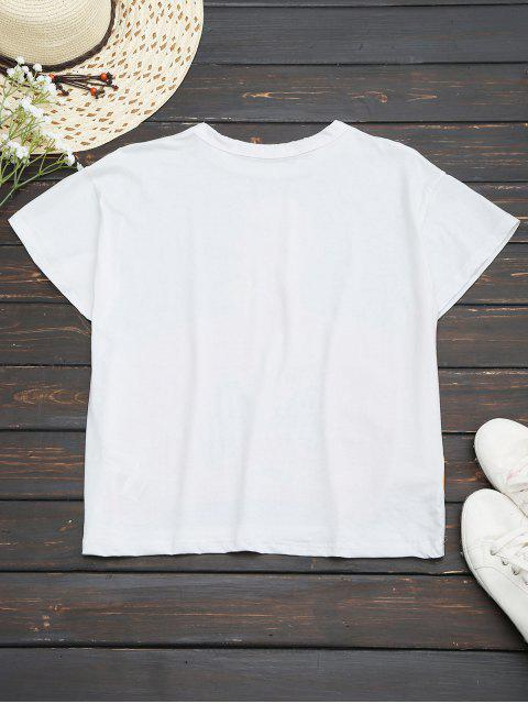 chic Cotton Figure Graphic T-Shirt - WHITE M Mobile