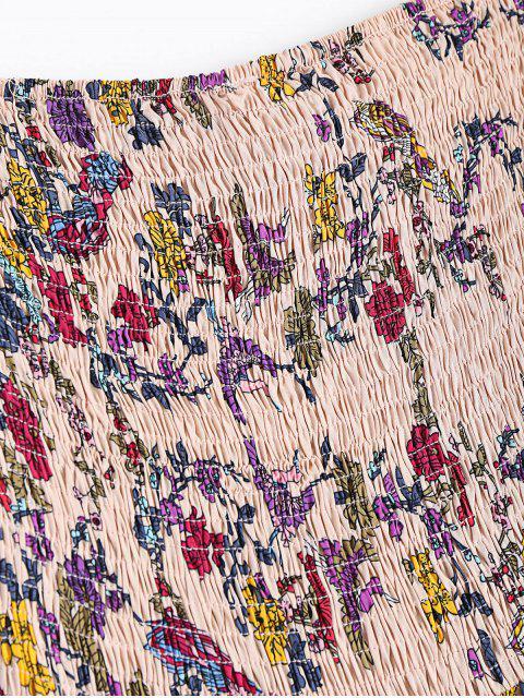 hot Floral Ruffles Smocked Tube Dress - FLORAL S Mobile