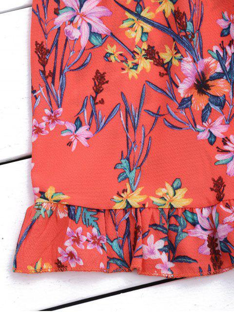 Combinaison à épaules dénudées à volants étagés - Floral M Mobile