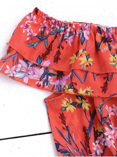 Combinaison à épaules dénudées à volants étagés - Floral L Mobile
