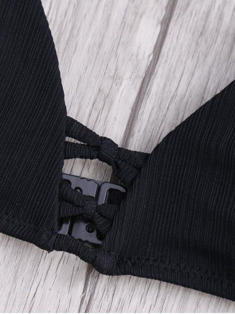 online Criss Cross Spaghetti Strap Texture Bikini Set - BLACK XL Mobile