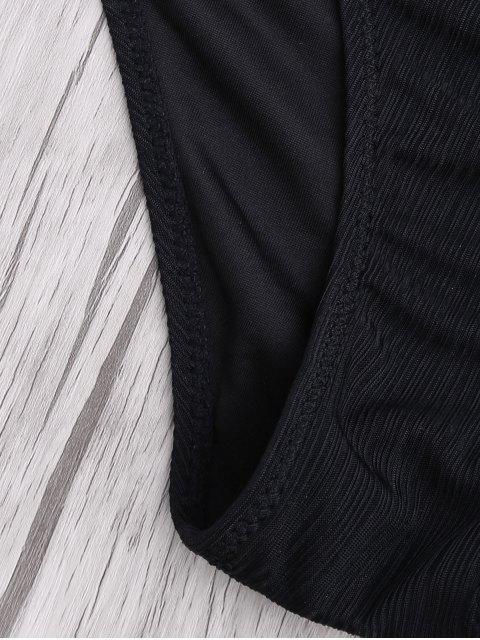 outfit Criss Cross Spaghetti Strap Texture Bikini Set - BLACK S Mobile