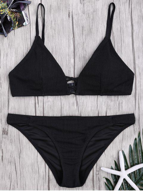 Kreuzgurte Spaghettiträger texturisches Bikini Set - Schwarz S Mobile