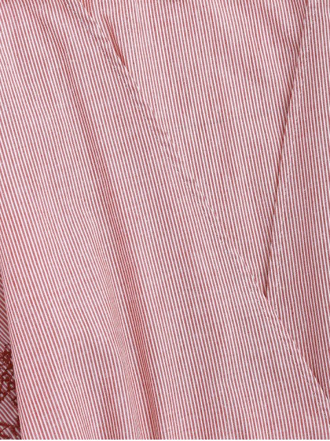 unique Embroidered Striped Smocked Top - STRIPE L Mobile