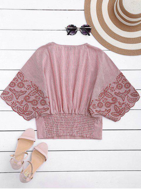 sale Embroidered Striped Smocked Top - STRIPE M Mobile