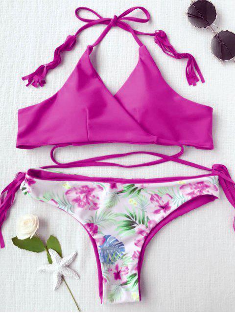 outfits Macrame Tropical Print Wrap Bikini Set - ROSE RED S Mobile