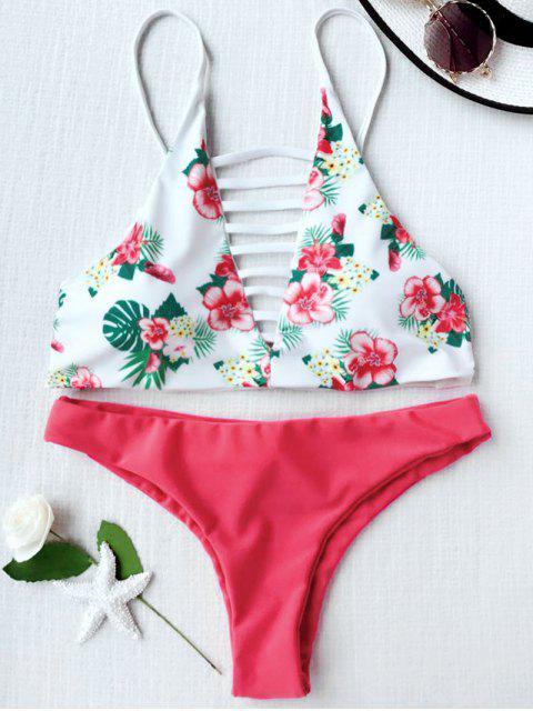 shops Floral Print Lattice Strappy Bikini Set - RED WITH WHITE M Mobile