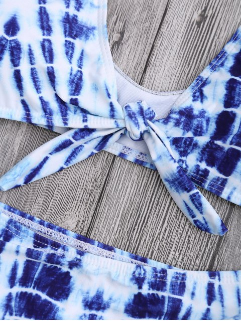 unique Scoop Front Knotted Tie-Dyed Bikini - BLUE XL Mobile